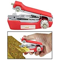 HF TRADERS Portable Mini Handheld Plastic Sewing Stapler Type Manual Machine for Easy and Quick Cloth Stitching, 10 x 10 x 10 cm, Red