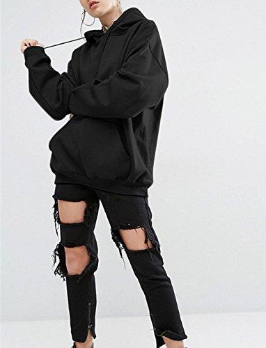 Tous Les de Fashion Manches Noir Capuche Simple Hiver Tops Longues Chemisiers Automne Couleur Femmes Casual Pulls Lache Sweat Hauts Jours Blouse Fashion Unie Pullover Shirts Sweats 1xxBdwqZ