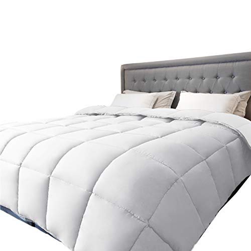 Queen Comforter Duvet -All Season Reversible Down Alternative Quilted Comforter and Duvet Insert with Corner Tabs - Hypoallergenic -Double Plush Fabric (Full, White, 88 x 88 inches)