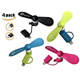 Portable Cell Phone Mini Fans - Colorful and Powerful 2-in-1 Fans Cooler for iPhone/iPad and Android Smartphone/Tablet - 4 Piece - Black/Pink/Blue/Green - Summer 2017 Cell Phone Accessories