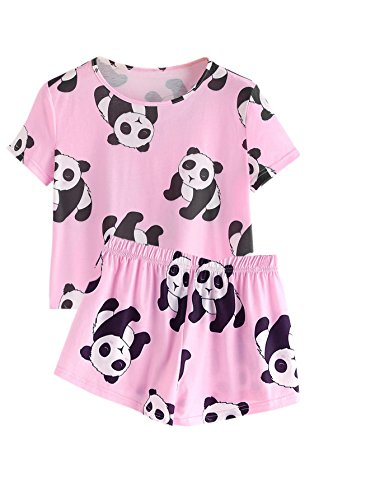 DIDK Women's Cute Cartoon Print Tee and Shorts Pajama Set Pink -