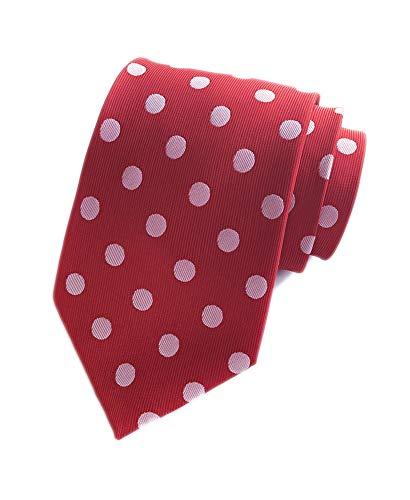 Men's Hot Red Silk Ties White Polka Dot Cravat Woven Neckties for Wedding Dress