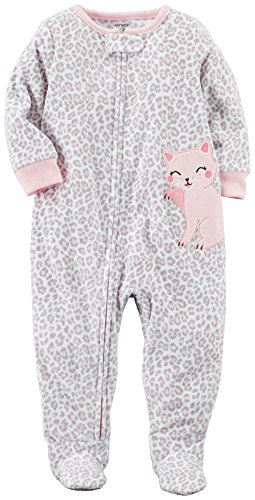 Carter's Baby Girls' 12M-14 One Piece Leopard Print Kitty Fleece Pajamas 18 Months