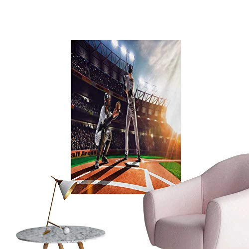 Anzhutwelve Teen Room Photographic Wallpaper Professional Baseball Players in The Stadium Playing The Game Pich Sports PrintMulticolor W20 xL28 Art Poster