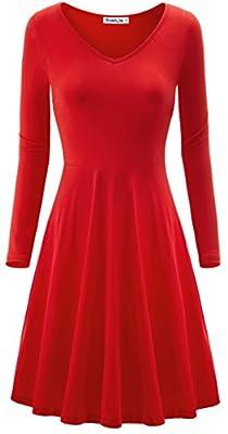 Yomilin Women's Long Sleeve V Neck Casual Flared Midi Dress