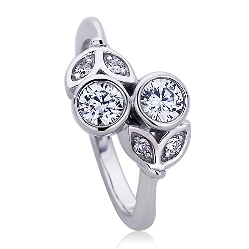 Platinum Plated Sterling Silver 0.5ct Round CZ Bezel Flower Bypass Ladies Ring ( Size 5 to 9 ), 6 (Flower Bypass)
