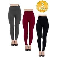 Para mujer Leggings forro polar lined-high Cintura 3Pack, Basic elástico tobillo Legging 1Black, 1charcoal, 1wine (Talla única)