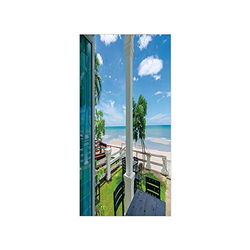 3D Decorative Film Privacy Window Film No Glue,Coastal Decor,Outdoor Wood Chairs and Tables by The Sea Trees Greenery Summer Villa,Green Blue White,for Home&Office