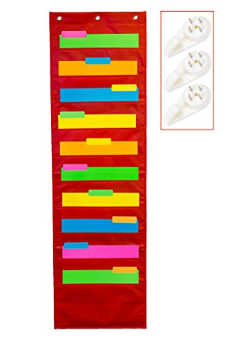 School Savings Hanging Document Organizer (Red) – 10 Large Wall Pockets for Important Home, School or Office Paperwork, Letters or Files – Essential Work Supplies by School Savings