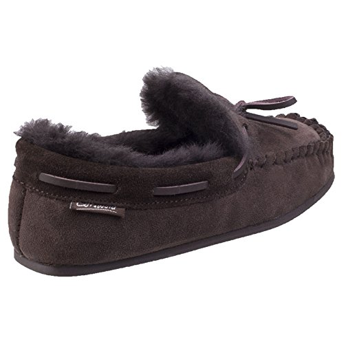 Cotswold Womens/Ladies Stanway Sheepskin Premium Moccasin Slippers Chocolate