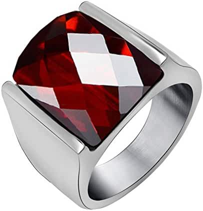 FANSING Jewelry Imitation Agate Stainless Steel Rings for Mens