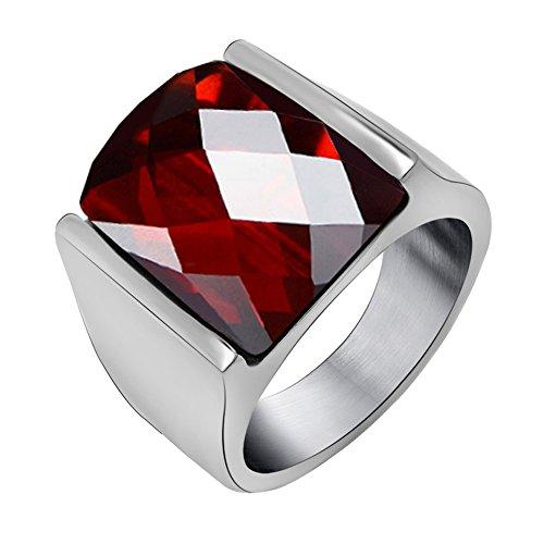 FANSING Men Rings, Imitation Red Agate Ring Stainless