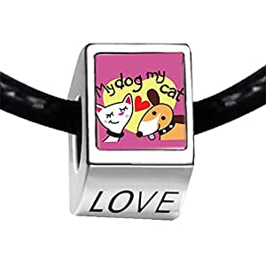 Chicforest Silver Plated My Dog Loves My Cat Photo LOVE Charm Beads Fits Pandora Charms