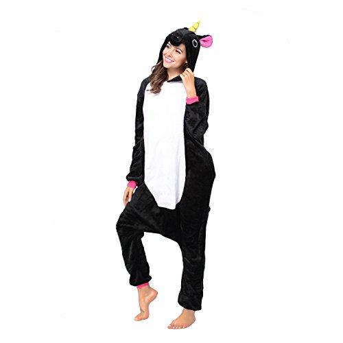 Christmas Adults Unisex Animal Flannel Unicorn Onesie Pajamas Cosplay Costume(XL,Black Unicorn)