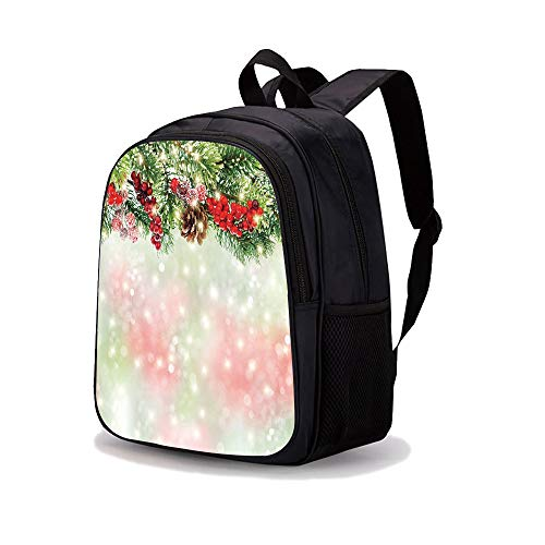 """13.7"""" Print Sublimated Backpack,Christmas,Evergreen Fir Branches with Red Ripe Holly Berries Blurred Backdrop Garland Decorative,Red Green Brown,for Boys and Girls"""