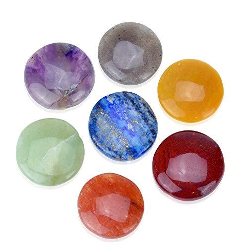 - Set of 7 Disc Chakra Set - Chakra Stones - Reiki Healing Crystal 7 Chakra Stones (32mm)
