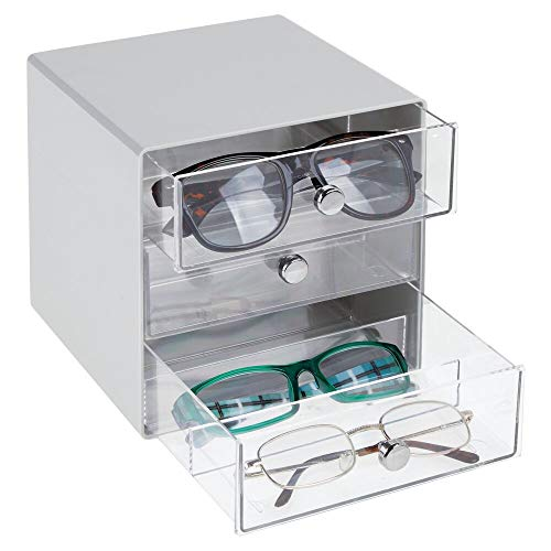 mDesign Stackable Plastic Eye Glass Storage Organizer Box Holder for Sunglasses, Reading Glasses, Accessories - 3 Divided Drawers, Chrome Pulls - ()