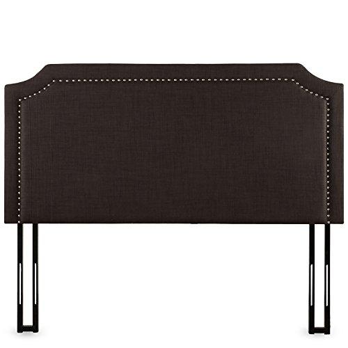 Zinus Upholstered Nailhead Detailed Headboard, Full/Queen, Dark Brown by Zinus
