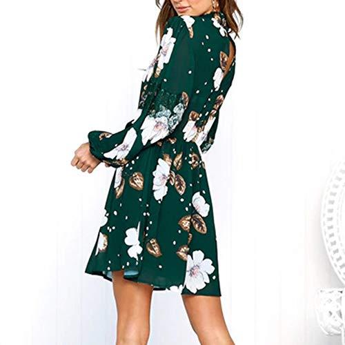 Larga Floral De Verde Manga Vestido De Moda Mini Temperamento De El Gasa Banda De Suelta Alto La Invierno OtoñO Cuello Y Elegante ImpresióN DEELIN Casual Mujer Caliente EláStica pqOwZBx41