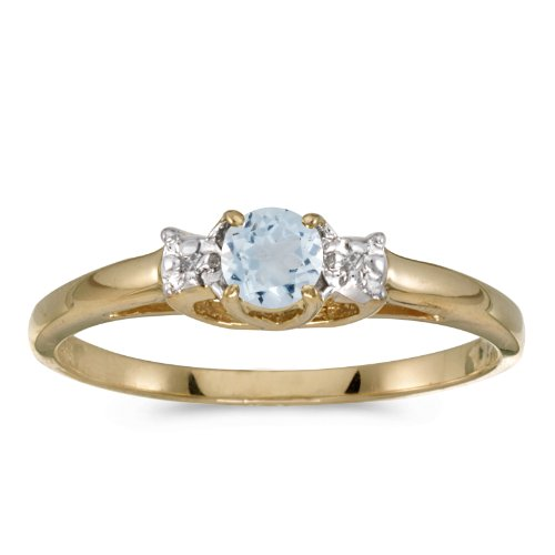 (Jewels By Lux 14k Yellow Gold Genuine Birthstone Solitaire Round Aquamarine And Diamond Wedding Engagement Ring - Size 9.5 (1/5 Cttw.) )