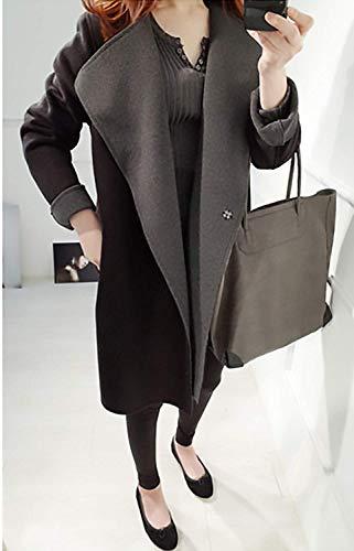 Mode Femme Occasionnelles Assez Survêtement Confortable Manteaux Thermique Élégante Longue d'hiver Revers Manteau Lâche Veste Schwarz Chaud Manches qI1xgwF1