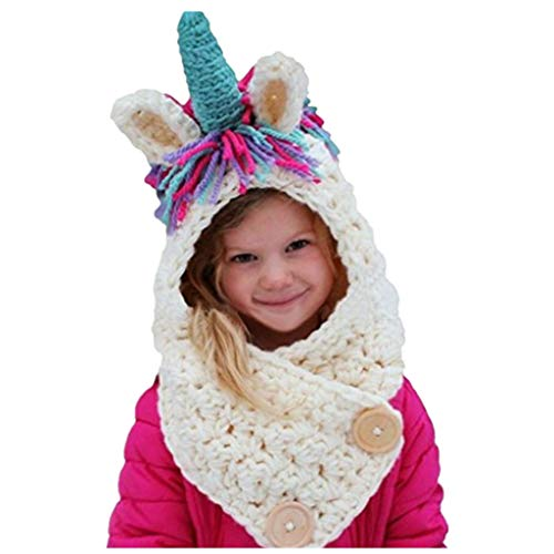 Girls Kids Unicorn Hats Winter Knitted Cap Hat Halloween Costume 3-8Y -