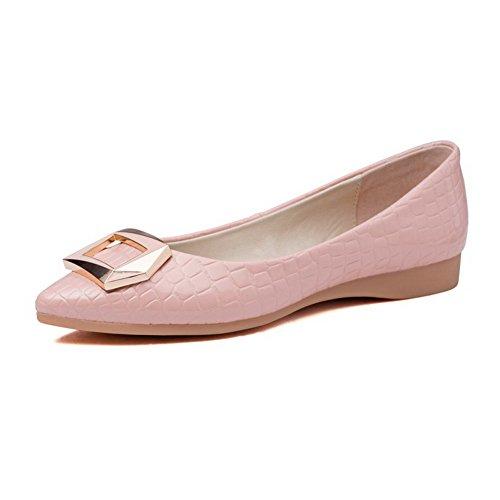 Damen Rein Ziehen auf Spitz Zehe Flache Schuhe, Weiß, 34 AgooLar