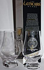 """These TWO NEW, MINT 4-1/2"""" tall GLENCAIRN tasting glasses in the tulip shape design are QUALITY ETCHED with the Lagavulin Islay Crest. This distillery produces a truly globally recognizable single malt scotch whisky. These GLENCAIRN blenders'..."""