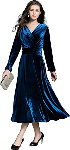 Ababalaya Women's 90s Retro Velvet Faux Wrap Empire Midi Long Formal Evening Gown,Peacock Blue,S (Dress Evening Peacock Blue)