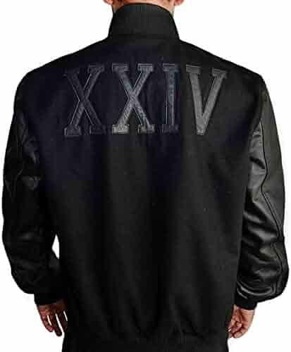 Michael B Jordan Kobe Destroyer XXIV Battle Mens Black Faux Leather Sleeves  Wool Jacket 66b5a10c2