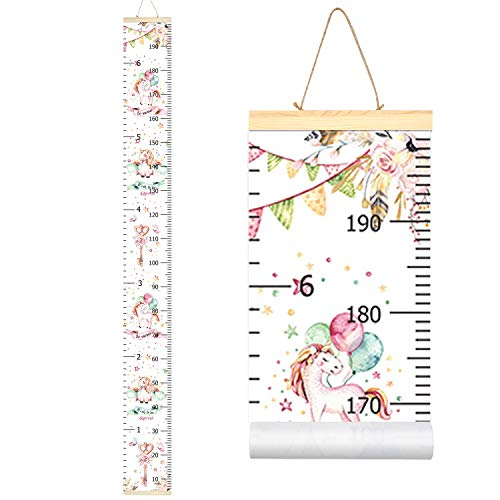 Sylfairy Kids Unicorn Growth Chart Baby Roll-up Wood Frame Canvas Removable Height Measurement Ruler Wall Hanging Height Ruler Wall Art Decor for Nursery Room Bedrooms 79