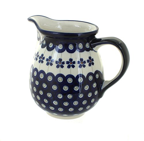 Polish Pottery Flowering Peacock Small Pitcher