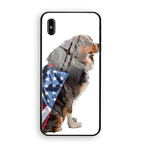 Dog's United States Flag Costume iPhone X Case, Thin Tempered Glass Back Cover and Soft Silicone Rubber Bumper Frame Support Wireless Charging Compatible for iPhone X