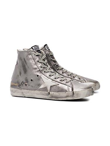 Golden Goose Hi Top Sneakers Donna G32WS591B15 Pelle Argento