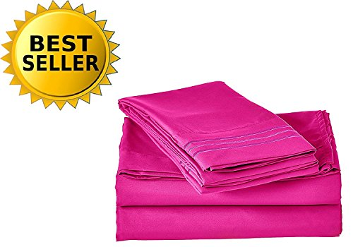 Elegant Comfort Bedding Collection 4-Piece Bed Sheet Set 1500 Thread Count Egyptian Quality Wrinkle Free HypoAllergenic with Deep Pockets , Full, Hot Pink (Hot Pink Bed Sets)