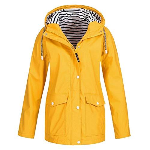 Giacche Outwear Windbreaker Giallo Jacker Inverno Zipper Donna Impermeabile Coat Outdoor Rain Cappotto Escursionismo L Autunno Hpklsder Ladies Casual qfwZ4aI