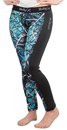 Muddy Girl Serenity Camo Athletic Workout Yoga Leggings Tights Pants Blue (M)