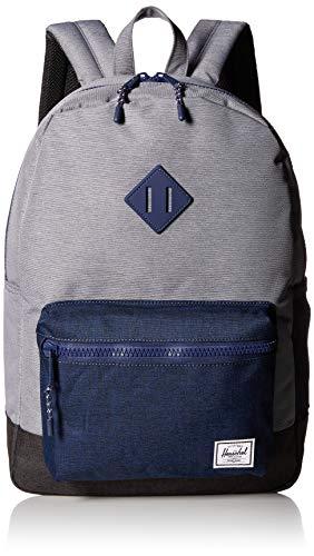 Herschel Kids' Heritage Youth XL Children's Backpack, Mid Grey Medieval Blue Black Crosshatch, One Size