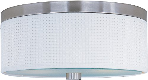 ET2 E95002-100SN Elements 2-Light Flush Mount, Satin Nickel Finish, Glass, MB Incandescent Incandescent Bulb, 8W Max., Dry Safety Rated, 2700K Color Temp., Standard Dimmable, Acrylic Shade Material, 144 Rated Lumens