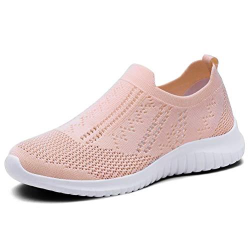 (KONHILL Women 's Walking Tennis Shoes - Lightweight Athletic Sport Gym Slip on Sneakers, Pink, 39)