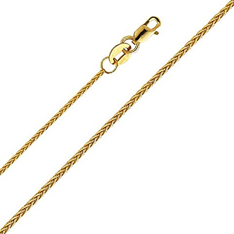 14k Yellow Gold 0.9mm Braided Wheat Chain Necklace with Lobster Claw Clasp - 16