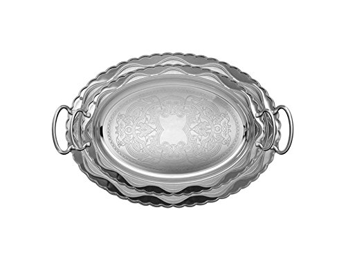 Oval Silver Plated Serving Tray - Home N Kitchenware Collection Silver Plated Serving Tray Set (2 pieces), 18