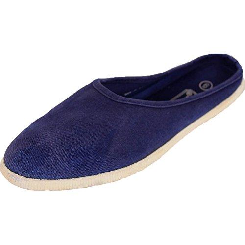 Denim Womens Mules (SLM Women's Slip On Canvas Denim Blue Mules Flats 6 B(M) US)
