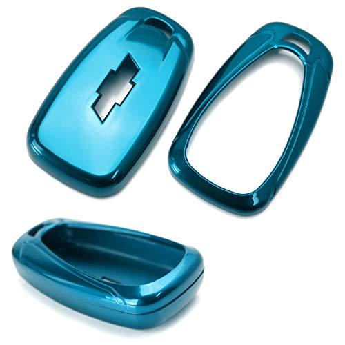 Ijdmtoy Glossy Metallic Blue Exact Fit Key Fob Shell Cover For 2016 Up Chevrolet Camaro Cruze Spark Volt  2017 Up Malibu Bolt Sonic Trax  Etc