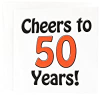 Cheers to 50 years. Red. - Greeting Cards, 6 x 6 inches, set of 12 (gc_193581_2)