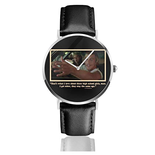Unisex Business Casual High School Girls David Wooderson Dazed Confused Watches Quartz Leather Watch with Black Leather Band for Men Women Young Collection Gift