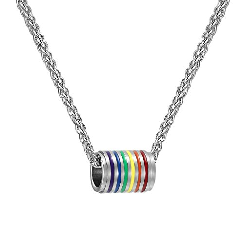 PROSTEEL Gay Pride Necklace,Rainbow,LGBT Jewelry,Love Wins,Equality Necklace,Gay,Inspirational Jewelry,Friendship Necklaces,Gift for Him,22 Inches,P2530G -