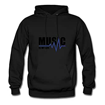 Vintage Music_is_my_life__f2 Printed Regular And Regular Hoody In Black