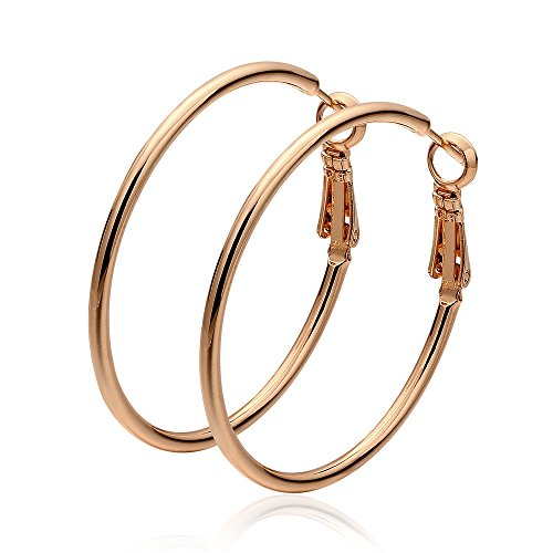 Cos2be Fashion Stainless Steel Hoop Earrings, Gold Plated Rose Gold Plated Silver Plated Endless Round Earrings Hoop for Women and Girls Sensitive Ears (40mm)