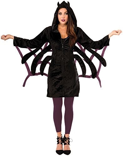 Forum Novelties Women's Hoodie Spider Costume, Black, Standard -